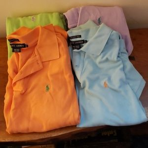 RALPH LAUREN-4 SKINNY POLO ASSORTED COLORS XL SS